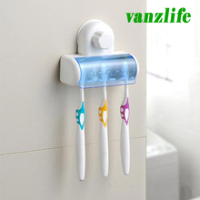 vanzlife bathroom five grids celebration powerful suction toothbrush holder toothbrush rack dust cover