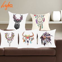 Hyha Deer Elk Polyester Cushion Cover Animal Feather Dreamcatcher Pillow Case Home Decorative Pillow Cover For Sofa Car almofada