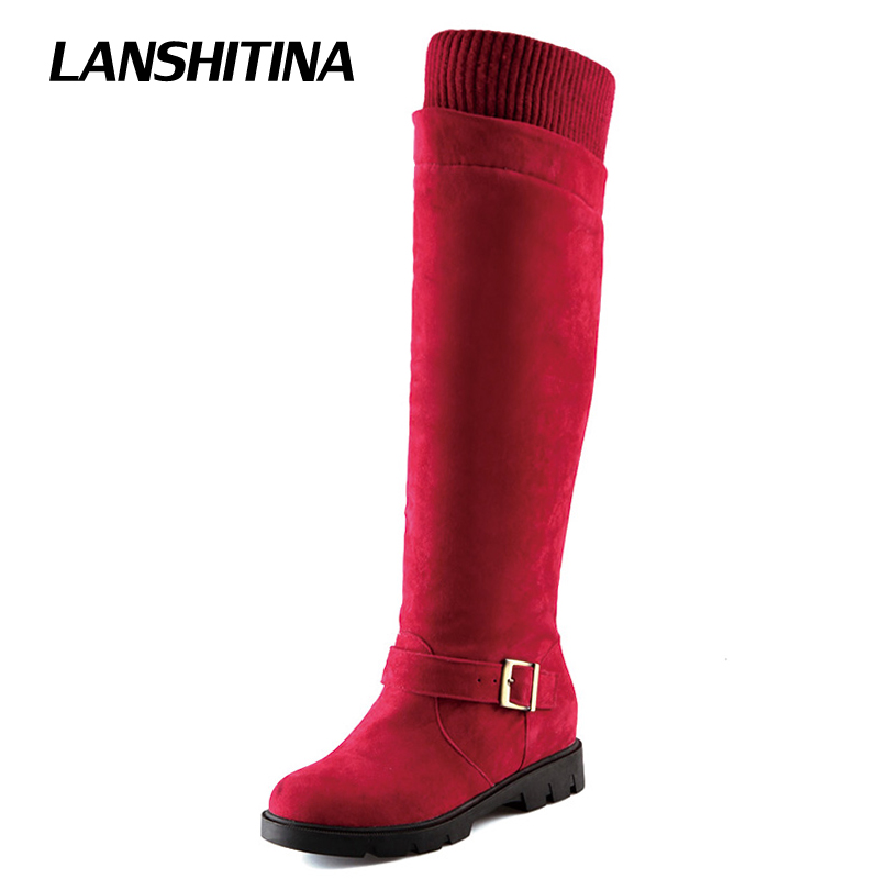 Women Over Knee Boots Motorcycle Long Boot Horse Shoe Heel Botas Mujer Warm High Boots Women Fashion White Round Toe Shoes G107<br>