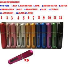 Hot 5ml Mini Portable Travel Refillable Perfume Atomizer Bottle Scent Pump Case Empty perfume bottle airless pump