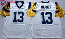 Embroidered Logo 27 Kurt Warner blue white throwback high school FOOTBALL JERSEY for fans gift cheap 1106-1(China)