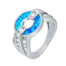 Cute Sliver Coins Blue&Pink Fire Opal Rings 925 Sterling Sliver Jewelry For Women EMF002(China)