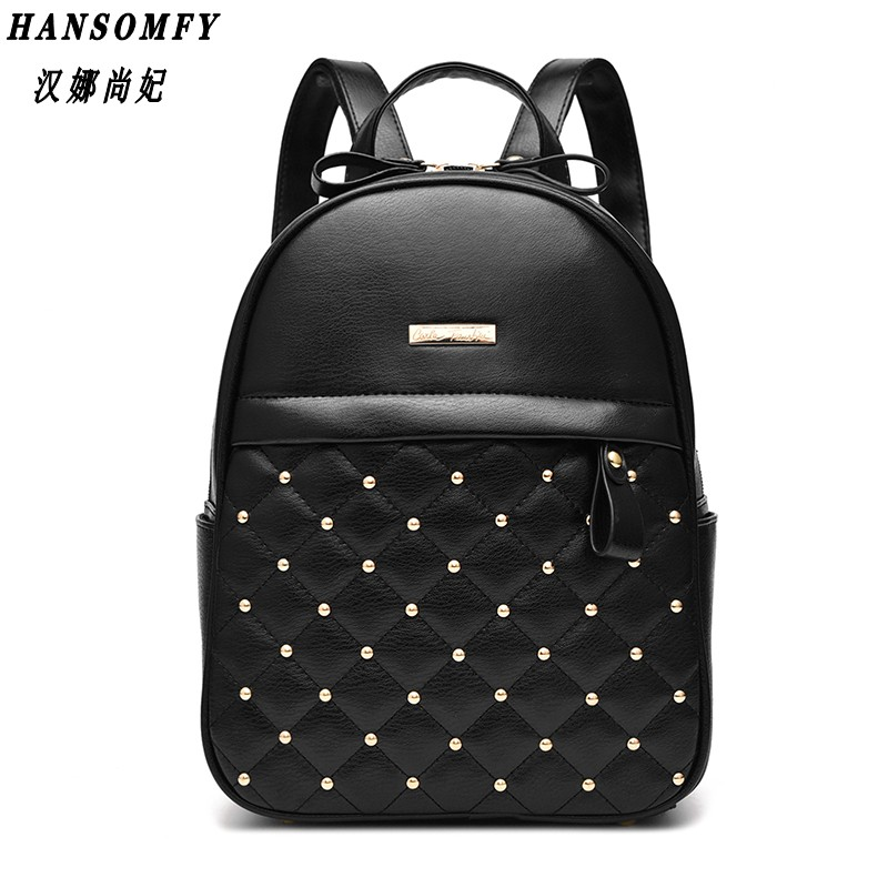HNSF 100% Genuine leather Women backpack 2017 New shoulder bag new students fashionable Korean Korean female package<br>