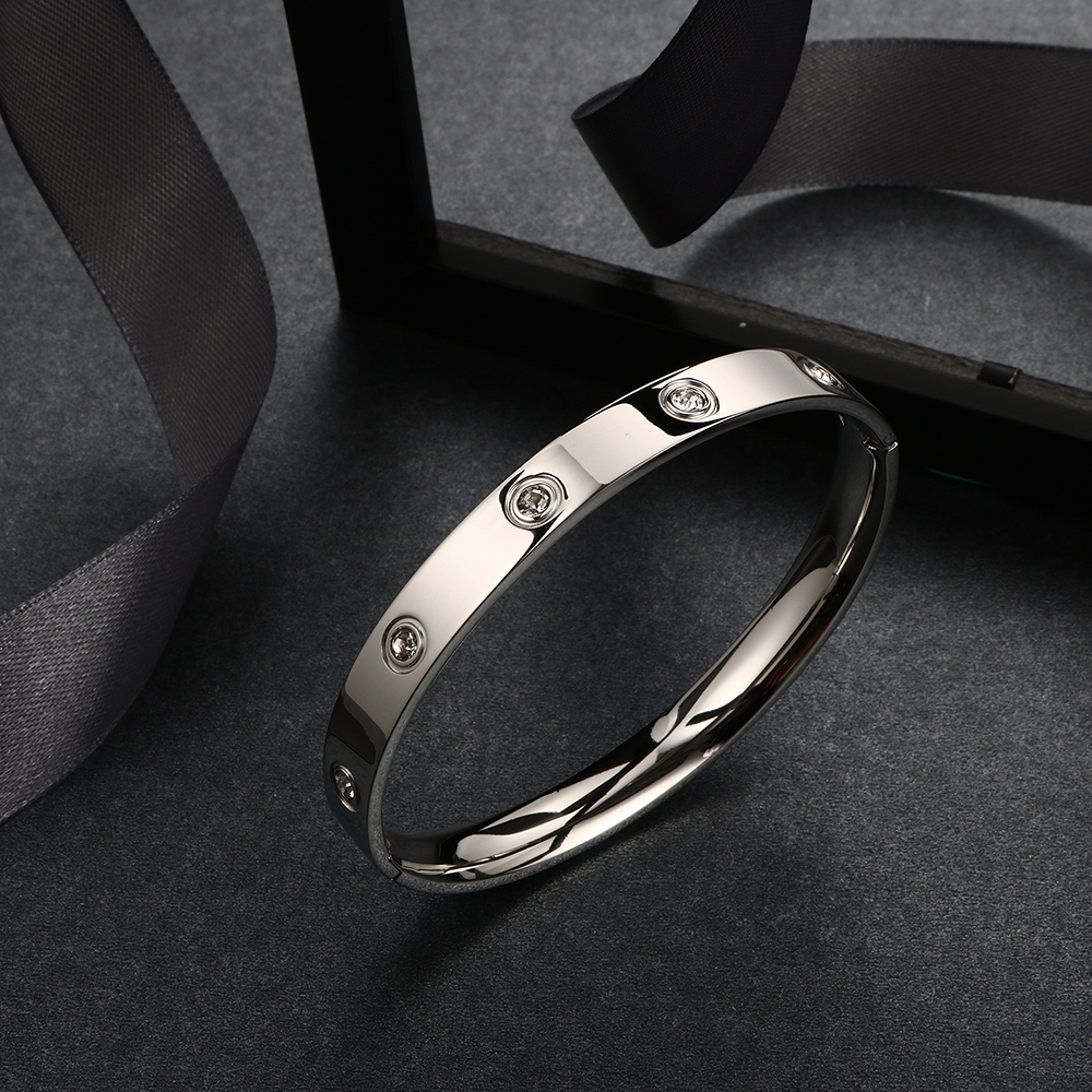 Trendy Rose Gold Love Bracelets Bangles Women Gold Color Stainless Steel Charming CZ Cuff Bracelet Lovers Luxury Brand Jewellery 15