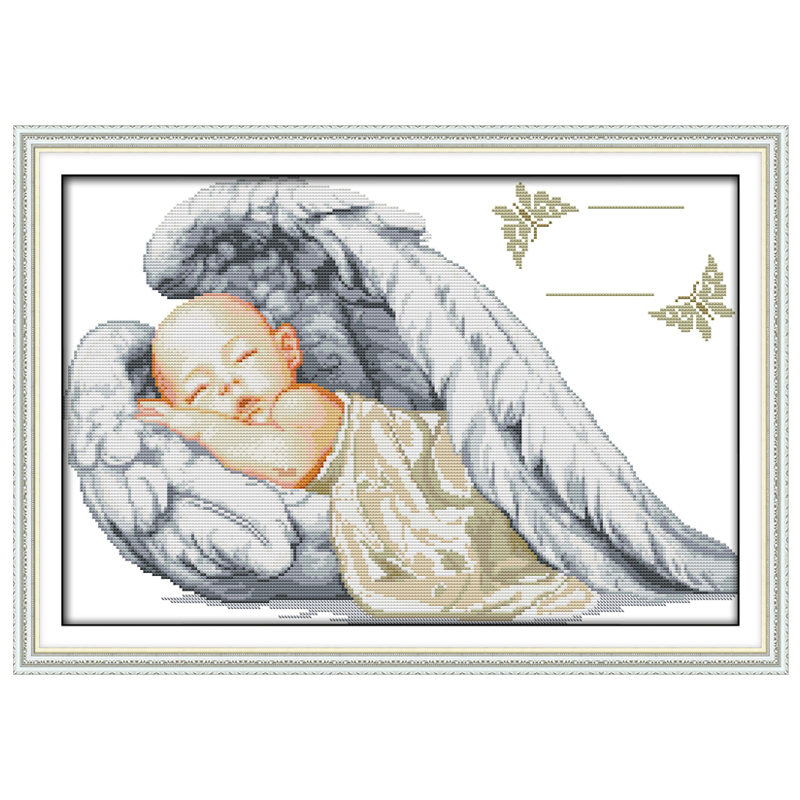 Little Angel свидетельство о рождении узоры Счетный крест 11 14CT вышивки крестом мультфильм Вышивка крестом Комплект Вышивка рукоделие(China)