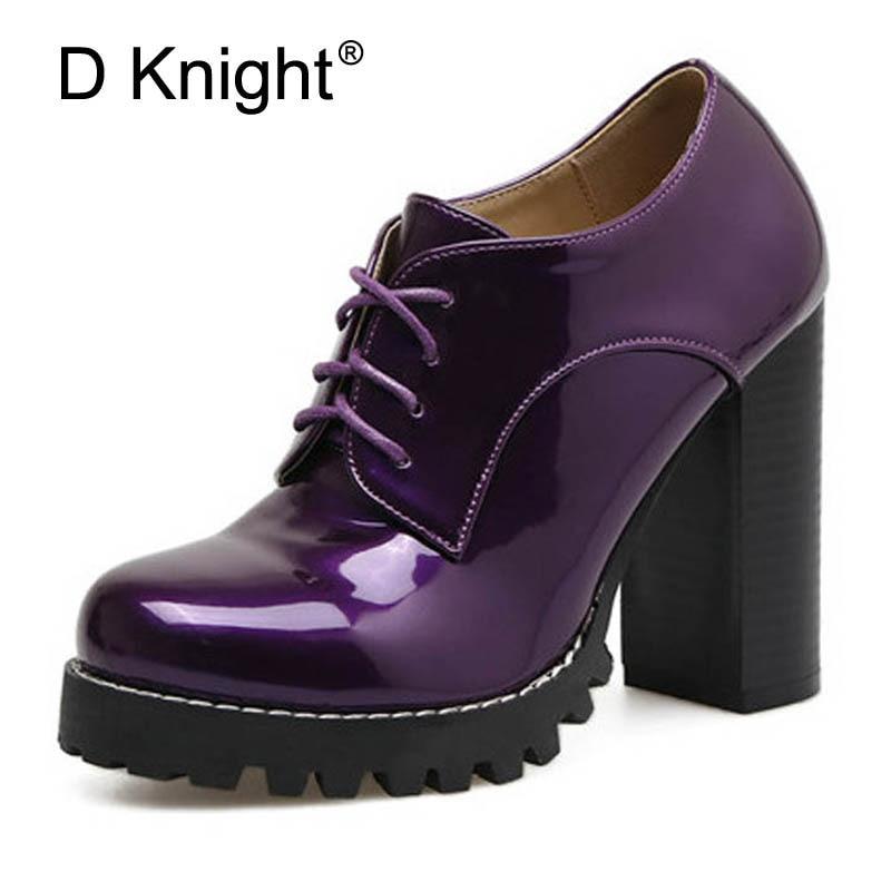 2017 Autumn New Women Pumps High heels Office Shoe Lace Up  female Shoes ladies Patent Leather Shoes Big Size 35-41 Black Purple<br>