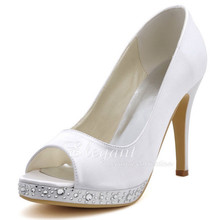 Shoes Woman  EP2125-PF White Size 38 Peep Toe Rhinestone Pumps Platform High Heel Shoes Satin Women Wedding Bridal Shoes