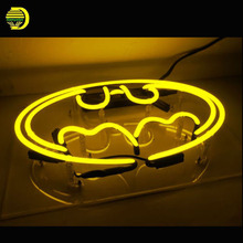 Neon Sign Superhero Batman Shop Store Advertise Glass Tubes Neon Bulb Signboard lighted with Plastic Board neon lights for sale(China)