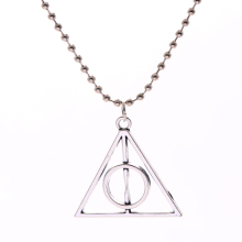 fashion Triangle Gift Antique Silver Deathly Hallows Triangle Metal Pendant long Chain Necklace as Gifts for women & men