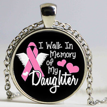 Breast Cancer Awareness Pendant-I Walk in Memory of Pink Ribbon Wellness necklace Survivor Pendant(China)