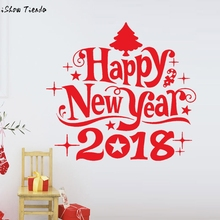 Happy New Year 2018 Merry Christmas Tree Wall Sticker Home Shop Windows Decals Decor stickers good quality wall stickers(China)