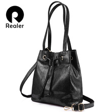 REALER brand fashion women genuine leather handbags large capacity draw string bucket bags female serpentine print shoulder bag(China)
