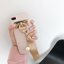Hot INS Korean Graceful Pearl Silk Ribbon Case for iPhone 7 7Plus Soft TPU Pink & Grey Fundas for iphone 6 6s 6Plus 6sPlus
