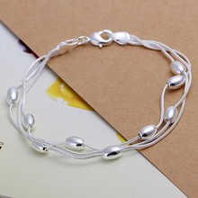 Free Shipping Wholesale silver bracelet, 925 fashion silver plated jewelry Three Line Gloss Ball Bracelet /TNIDWLUM KZPKFUII
