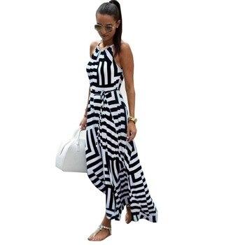 2017 Geometric Printed Boho Beach Summer Long Dress Sexy Spaghetti Strap Backless Black and White Striped Maxi Dresses WDC776