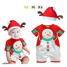 2Pcs Christmas Costumes Baby Cute Snowman Design Jumpsuit With Red Hat Xmas Boy Clothing Set Girls Perform Wear Sleepwear Romper