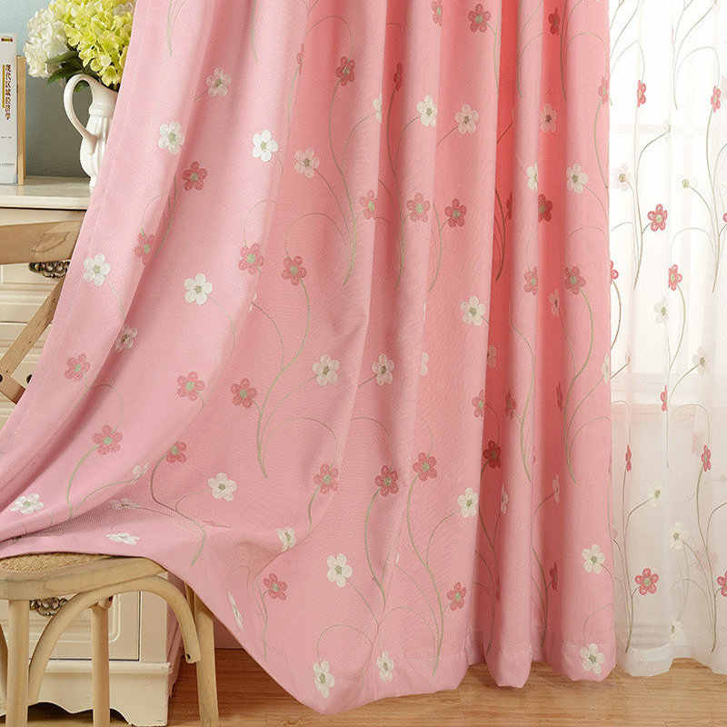 Blackout Curtains Pastoral Pink Embroidered Tulle Floral Pattern For Kids/Girls Bedroom Living Room Home Decoration Window Drape