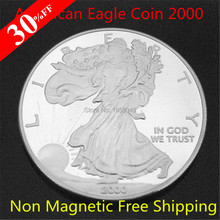 Non Magnetic Brass Plated year 2000 Silver American Eagle Liberty Coins One Troy Ounce replica Coin 100pcs/lot(China)
