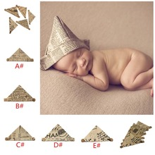 2016 New Arrival Handmade Linen Newspaper style Baby Hat Caps Paper Shape Infant Hat Newborn Photography Props