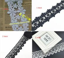 New!2 Yards/lot White Black Lace Fabric Embroidery Ornament Couture Designs Hot Sale Elegant Embroidery Lace Applique