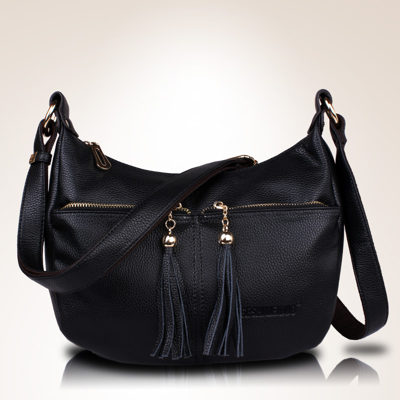 Womens Genuine Leather Handbags All-match Shoulder CrossBody Bags Fashion Tassel Messenger Bags Solid Color Hobos Women Bags<br>
