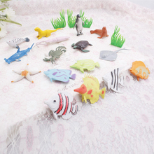 16Pcs Anime 2Inch Marine Life Sea Animal Set PVC Fish Octopus Penguin Children Gift Dolphin Turtle Crab Model Toys Free Shipping