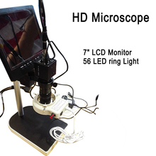 "HD Digital Industrial Microscope Camera for Industry Lab VGA Video Output+7"" LCD Monitor + 56 LED ring Light + Stand"