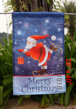 "Skating Santa - Decorative Merry Christmas Winter Holiday Blue  Garden Flag - ""12.5 x 18"" ""28 x 40"" Inches"