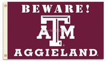 Texas A&M Beware Aggies Country Flag 3x5 FT 150X90CM NCAA Banner 100D Polyester Custom flag grommets 6038,free shipping(China)