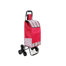Portable shopping cart small pull cart six wheel portable folding food buy stick luggage ladder type