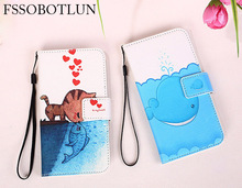 """FSSOBOTLUN,For Uhans i8 case 5.65"""" Fashion Painting Patterns PU Leather Stand Phone Flip Cover 2 Card Slots"""