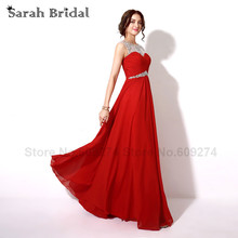 Red Formal Dresses Long Pregnant Evening Dresses Luxury Crystal Beaded Empire Long Prom Gowns Vestidos Com Pedrarias Longo SD196(China)