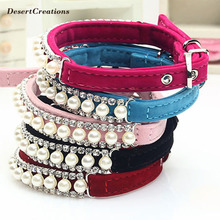 1/Pc!!! Fashion Pearl Puppy Dogs Collar Rhinestone Crystal Necklace Collars for Dogs Cats 5 Colors Pet Jewelry Dog Accessories(China)