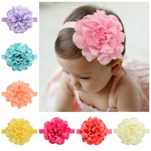 "24 pcs/lot, 3.7"" Burned Edges Satin Flower Headband, Babe Shower Gift, Girls Hair Accessories(China)"