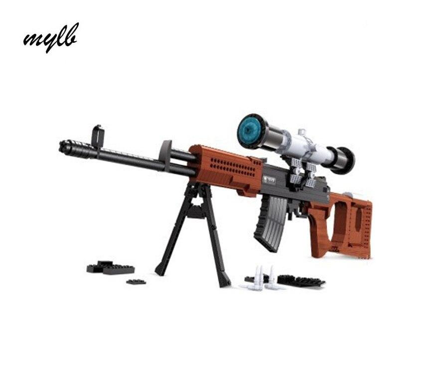 mylb New Ausini Arms series Snayperskaya Vinyovka Dragunov Model Building Blocks Classic SVD sniper gun Toys boy birthday gift<br>