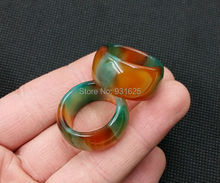1pcs Wonderful 13mm Wide Lucky Woman Man's Multicolor Natural Agate Ring Lucky Jade Rings 17-20mm Inner Diameter free shipping