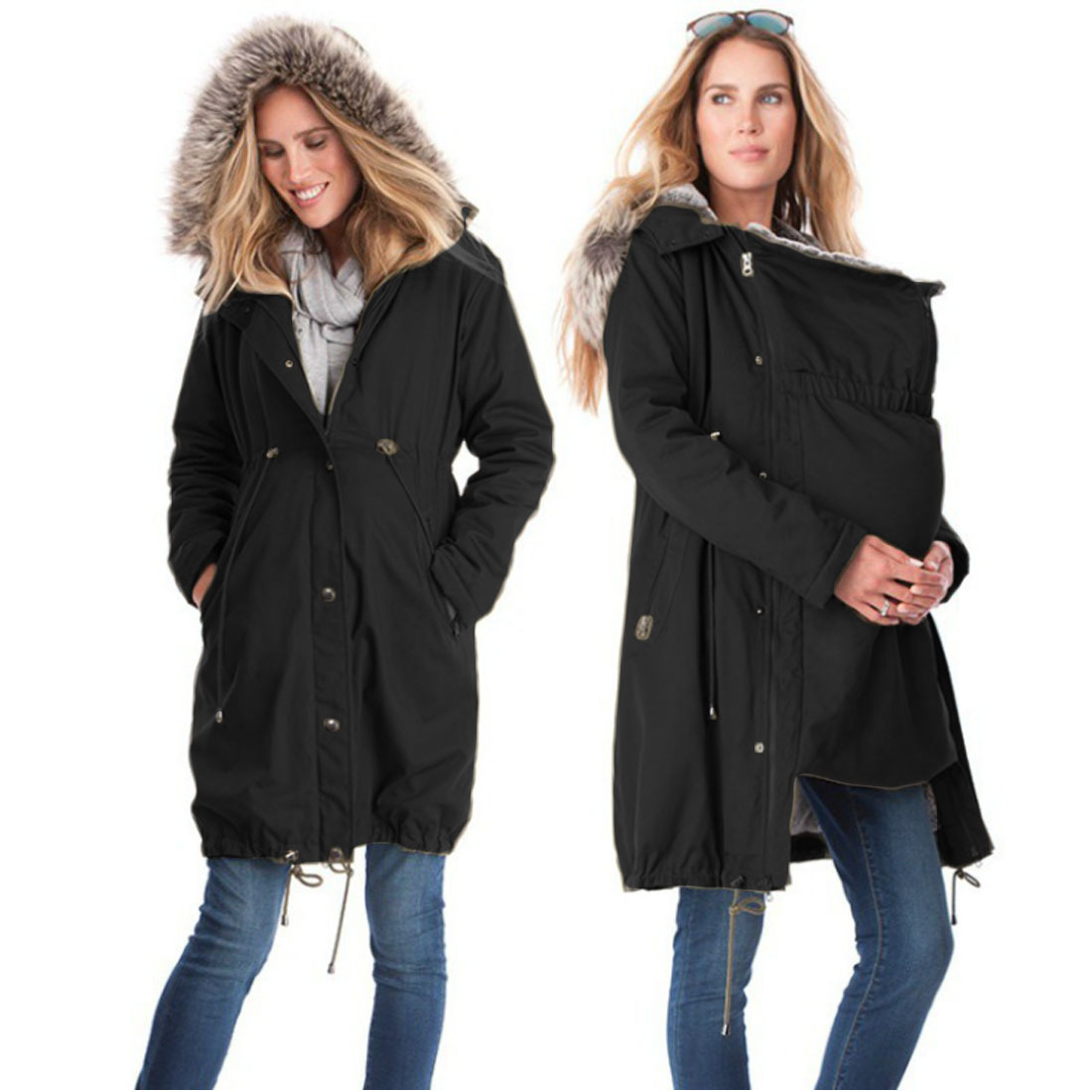 MAGGIES WALKER Winter Maternity Clothings Pregnant Woman Baby Carrier Hoody Kangaroo Zipper Coats Mom and Baby Maternity Coats<br>