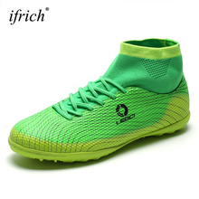 2016 High Top Football Boots Men Big Size Waterproof Football Trainers Shoes Breathable Blue/Orange/Green Football Boots For Man(China)