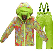 Hot Sale Children Winter Jacket Thick Skiing Suit Snowboarding Sets Warm Ski Coat + Pant Kids Camouflage Snowboarding Outwear