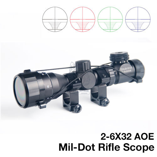 2-6x32 AOE Illuminated Scope Red Green Blue Mil-dot Sight Rifle Scope With 11mm/20mm Rail Mounts Airsoft Optical Sight RL6-0024<br>