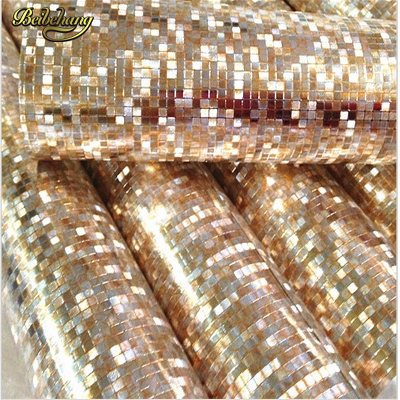 beibehang papel de parede. Luxury glitter mosaic wallpaper background wall gold foil wallpaper silver ceiling wallcovering<br>