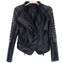 2017 Spring Autumn Fashion Women Rivets Motorcycle PU Faux Leather Spike Studded Jacket Coats Rock Short Jackets Black JC705
