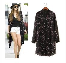 New summer 2015 silk loose collar was bathed in a coat for a long time Fashion sexy Discount promotion cheap clothes china