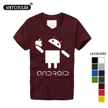 Fashion Men T Shirts Android Robot Male t-shirt apple humor logo printed funny t shirt short sleeve V-Neck Casual Ringer Tees(China)