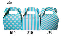 Baby Blue Candy Gift Box  for Boy Birthday Baby Shower Party - Set of  12/24/36pcs Mix dot stripes chevron style