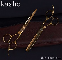 "kasho hairdresser's professional hairdressing scissors hair cutting scissors barber scissors thinning shears hair cut 5.5""set(China)"