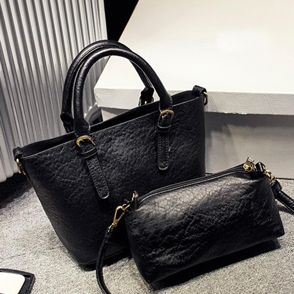 2Pcs/Set Vintage Handbags Women Messenger Bag Female Purse Solid Shoulder Office Lady Casual Tote PU Leather Top-Handle Bag<br><br>Aliexpress