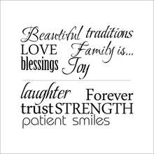 Family is beautiful Love Blessing Lettering Words Quotes wall sticker vinyl art wall decals home decor adesivo de parede(China)