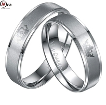 NFS 1 Pair New Design Lover Rings Wholesale Silver Stainless Steel HIS QUEEN And HER KING Couple Rings For Lovers(China)