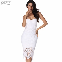 2017 Sexy Women Runway Spring Bodycon Bandage Dress Sexy Blue Black White Lace Celebrity Evening Party Dress Prom Club Vestidos